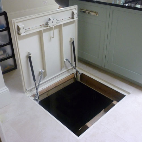Cellar access tray type Trap door hinges